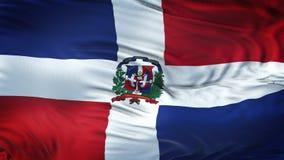 Fondo realista de la bandera de la REPÚBLICA que agita DOMINICANA Foto de archivo libre de regalías