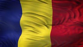 Fondo realista de la bandera de RUMANIA que agita Fotografía de archivo libre de regalías