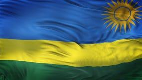 Fondo realista de la bandera de RWANDA que agita Imagen de archivo libre de regalías