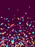 Fondo realista del vector del vuelo del confeti del día de fiesta amarillo azul ciánico rosado de la hoja libre illustration