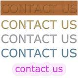 Fondo rectangular del color con el contacto nosotros encanto Fotos de archivo