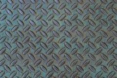 Fondo resistido del treadplate con pátina azulverde Imagenes de archivo