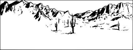 Fondo resumido de la montaña del desierto con el cielo claro ilustración del vector
