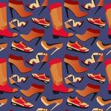 Fondo retro colorido inconsútil con los zapatos en diseño simple plano Imagen de archivo