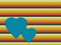 Fondo retro con los corazones, naranja, marrón, g de la paleta de los años 70 Fotografía de archivo libre de regalías