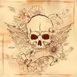 Fondo retro de la impresión sucia del cráneo del estilo del vintage ilustración del vector