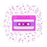 fondo retro de la música 1080s con la cinta de audio y las notas magnéticas stock de ilustración