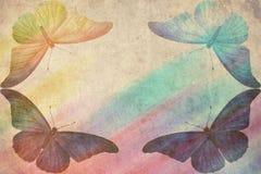 Fondo retro de la mariposa multicolora Foto de archivo libre de regalías