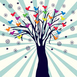 Fondo retro de la Navidad con el árbol Imágenes de archivo libres de regalías