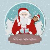 Fondo retro de la Navidad con Papá Noel y el zodiaco chino ilustración del vector