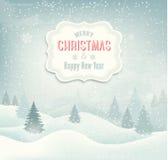 Fondo retro de la Navidad del día de fiesta con el lan del invierno Foto de archivo