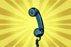 Fondo retro del arte pop del microteléfono ilustración del vector