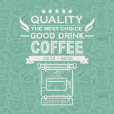 Fondo retro del café del vintage con tipografía Foto de archivo