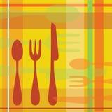 Fondo retro del cuchillo de la bifurcación de la cuchara Foto de archivo libre de regalías