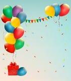 Fondo retro del día de fiesta con los globos coloridos Imágenes de archivo libres de regalías