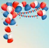 Fondo retro del día de fiesta con los globos coloridos stock de ilustración