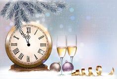 Fondo retro del día de fiesta con los vidrios y el reloj del champán Foto de archivo libre de regalías