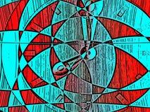 Fondo retro del fractal en colores básicos ilustración del vector