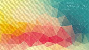 Fondo retro del triángulo del color con las líneas oblicuas Fotos de archivo libres de regalías