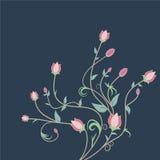 Fondo retro floral del azul del estilo Imagen de archivo