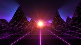 Fondo Retro-futurista del horizonte ilustración del vector