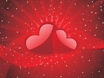 Fondo retro rojo del corazón con la ilustración del amor Fotos de archivo libres de regalías