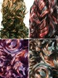 Fondo riccio di struttura dei capelli di punto culminante Fotografia Stock
