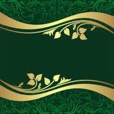 Fondo rifle-verde de lujo con B floral de oro Imagen de archivo