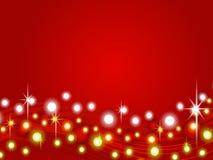 Fondo rojo 2 de luces de la Navidad Foto de archivo libre de regalías