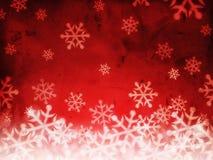 Fondo rojo abstracto con los copos de nieve Imagen de archivo