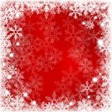 Fondo rojo abstracto con los copos de nieve Foto de archivo libre de regalías