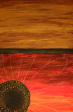Fondo rojo abstracto de la flor y del oro Imagen de archivo