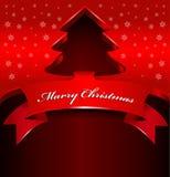 Fondo rojo abstracto de la Navidad con el árbol 3D Foto de archivo libre de regalías