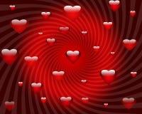 Fondo rojo abstracto de los corazones del día de tarjetas del día de San Valentín Imagen de archivo libre de regalías