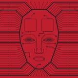 Fondo rojo abstracto del vector con la placa de circuito de alta tecnología y la cara de un hombre ilustración del vector
