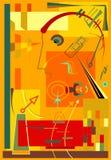 Fondo rojo abstracto, formas geométricas y curvadas de lujo, estilo -18-69 del arte del expresionismo Fotos de archivo