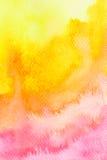 Fondo rojo amarillo-naranja vivo de la acuarela Foto de archivo libre de regalías