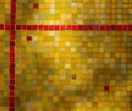 Fondo rojo amarillo verde del mosaico del azulejo Fotos de archivo