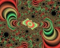 Fondo rojo anaranjado verde del extracto del fractal, textura florida foto de archivo libre de regalías