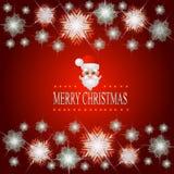 Fondo rojo brillante con la cara Santa Claus Ejemplo con el marco luminoso de estrellas y de copos de nieve Imagen de archivo libre de regalías