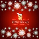 Fondo rojo brillante con un perro en un sombrero de Santa Claus Ejemplo con el marco luminoso de estrellas y de copos de nieve Foto de archivo