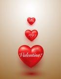 Fondo rojo brillante de la tarjeta del día de San Valentín de los corazones Foto de archivo
