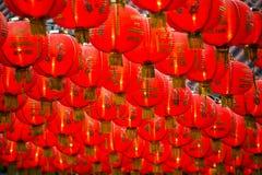 Fondo rojo chino de linternas de papel del Año Nuevo fotografía de archivo libre de regalías