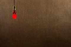 Fondo rojo colgante del bulbo de CFL Imagen de archivo libre de regalías