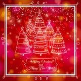 Fondo rojo con el bosque de árboles de navidad, vec Imagen de archivo libre de regalías