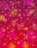 Fondo rojo con el copo de nieve y el bokeh, vector libre illustration
