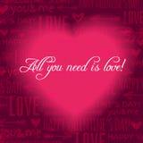 Fondo rojo con el corazón de la tarjeta del día de San Valentín y el te de los deseos Imagen de archivo libre de regalías
