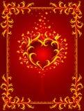 Fondo rojo con el corazón y el marco ardientes Foto de archivo libre de regalías