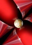 Fondo rojo con el globo de oro Fotos de archivo