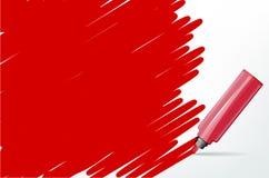 Fondo rojo con el marcador y garabato - lugar para su texto Foto de archivo